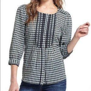 Meadow Rue Gingham Pintuck Shirt Lace Blouse